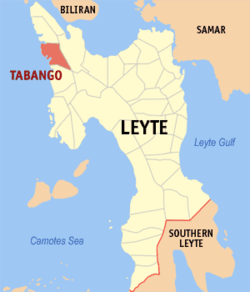 Map of Leyte with Tabango highlighted