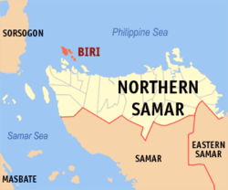 Map of Northern Samar showing the location of Biri