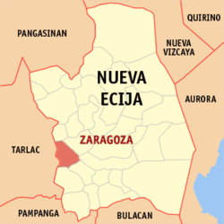 Map of Nueva Ecija showing the location of Zaragoza