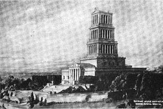 George Washington Masonic National Memorial - Model of the George Washington Masonic National Memorial in 1922. The model shows clear differences in the design of the tower and landscaping from the final building.