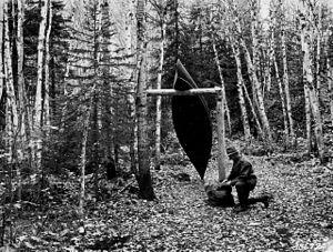 Portage - Canoe rest along a portage trail