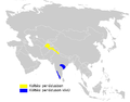 Phylloscopus occipitalis distribution map.png