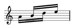 Piano Phase - Third motive: 4 semiquavers grouped 2x2