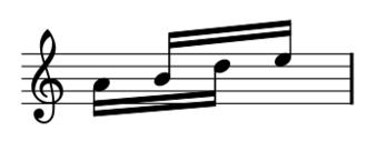 Piano Phase - Third motive: 4 semiquavers grouped 2x2