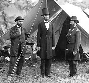 "Top hat - Abraham Lincoln in his distinctive ""stove pipe"" silk hat at Antietam, 1862"