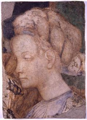 Roman Renaissance - The head of a princess attributed in a cycle of San Giovanni in Laterano of Pisanello e Gentile, Museo di palazzo Venezia, Rome.