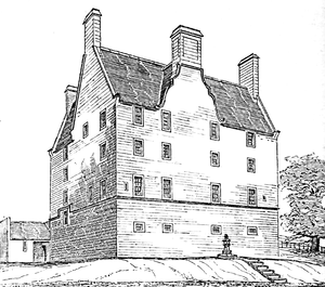 Pitreavie Castle - South front of Pitreavie Castle, drawn in the 19th century by MacGibbon and Ross, prior to the alterations of the 1880s