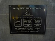 Plaque accompanying the Colours of the 4th Battalion, Queen's Royal Regiment (West Surrey), in Croydon Minster