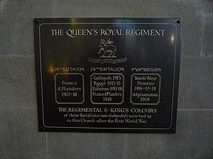 4th Battalion, Queen's Royal Regiment (West Surrey) - Plaque accompanying the Colours in Croydon Minster.