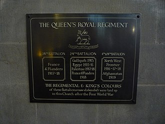 4th Battalion, Queen's Royal Regiment (West Surrey) - Plaque accompanying the Colours in Croydon Minster.