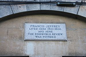 Francis Jeffrey, Lord Jeffrey - Plaque to Francis Jeffrey, 18 Buccleuch Place, Edinburgh