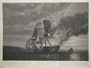 Battle of the Raz de Sein - The Action between the HMS Mars and Hercule on the Night of the 21st. April 1798. To the Memory of The Intrepid Captn. Alexr. Hood, Nicholas Pocock