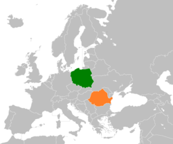 Map indicating locations of Poland and Romania