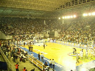 Basketball in Argentina - Game at Polideportivo Islas Malvinas, crowd attendance: 6,000