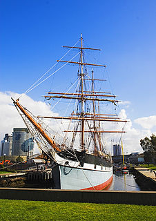 three-masted, iron-hulled barque preserved as a museum ship in Melbourne, Australia