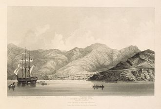Cressy (ship) - Image: Port Lyttelton by Mary Townsend, 1850