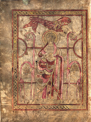 Lichfield Gospels - Evangelist portrait of Saint Mark