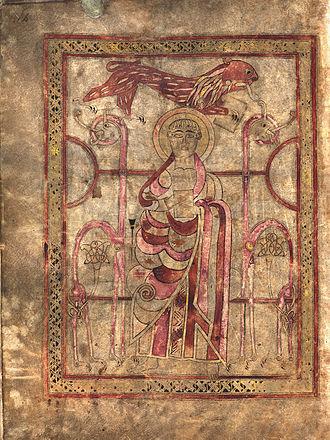 Lichfield Gospels - Evangelist portrait of Saint Mark