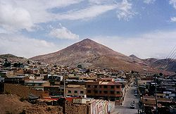View of Rich Hill (Cerro Rico) and downtown Potosi