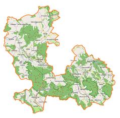 """Mapa konturowa powiatu wałbrzyskiego, blisko lewej krawiędzi nieco u góry znajduje się punkt z opisem """"Jaczków"""""""