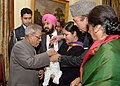 Pranab Mukherjee launching the Nationwide Polio Round by administering polio drops to the Children, at Rashtrapati Bhavan, in New Delhi. The Union Minister for Health and Family Welfare, Shri Ghulam Nabi Azad is also seen.jpg