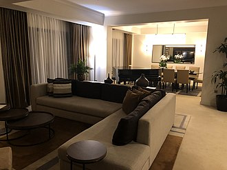 Hyatt Regency Birmingham - The lounge and dining area of the Presidential Suite, home to the Prime Minister during the Conservative Party conference.