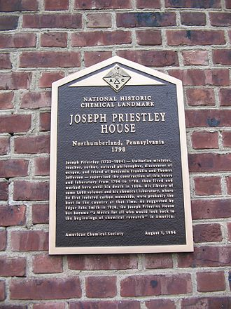 National Historic Chemical Landmarks - Plaque noting National Historic Chemical Landmark status at the Joseph Priestley House.