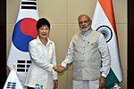 Prime Minister Narendra Modi meeting South Korean President Park Geun-hye on the sidelines of the14th ASEAN-India Summit.jpg
