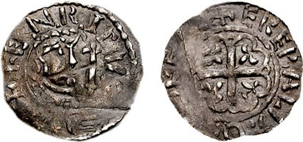 A Prince Henry silver penny, minted in his own name at Corbridge in Northumberland after his peace deal with Stephen. Prince Henry of Scotland 1139 692124.jpg