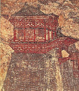 A mural depicting a corner tower, most likely one of Chang'an, from the tomb of Prince Yide (d. 701) at the Qianling Mausoleum, dated 706 Prince Yide's tomb, towers.jpg