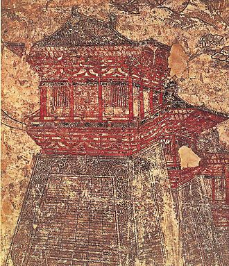 Chang'an - Que  towers along the walls of Tang-era Chang'an, as depicted in this 8th-century mural from Li Chongrun's (682–701) tomb at the Qianling Mausoleum in Shaanxi