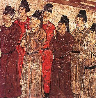 Eunuch - A group of eunuchs. Mural from the tomb of the prince Zhanghuai, 706 AD.