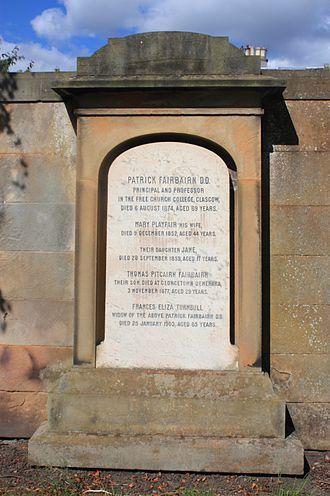 Patrick Fairbairn - Fairbairn's grave, Grange Cemetery