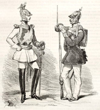Pickelhaube - Prussian infantry Pickelhaube in 1845 (at right)