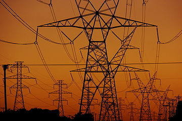 Freely-hanging electric power cables (for example, those used on electrified railways) can also form a catenary. PylonsSunset-5982.jpg