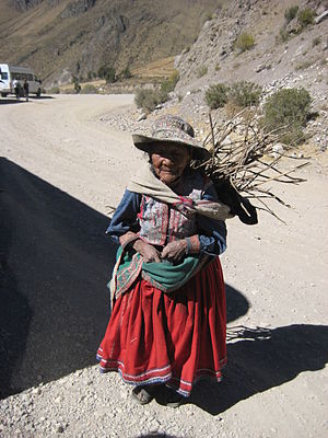 Aguayo (cloth) - Image: Quechua woman in Chivay, Peru, carrying wood in a q'ipirina