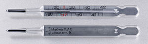 Medical thermometer - A medical/clinical mercury thermometer showing the temperature of 37.7 °C