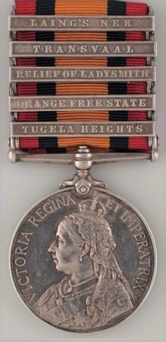 Queen's South Africa Medal - Image: Queen's South Africa Medal with 5 clasps, obverse