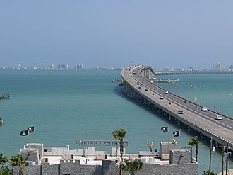 Laguna Madre (United States) - View of the Queen Isabella Causeway over Lower Laguna Madre
