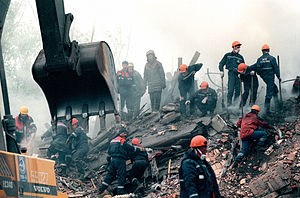 Russian apartment bombings - Rescuers digging for survivors after Kashira road bombing.