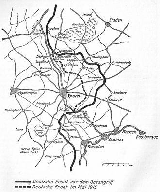 Second Battle of Ypres - Ypernbogen, German diagram showing the new front line after the 2nd Battle of Ypres