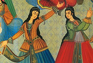 Persian dance - Dancing is historically entwined with many cultures around the world. Here, 17th century Persian women dance in a ceremony in Iran.