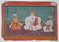 Raja Karam Pragash of Sirmur (1616-30) with his son and two nobles (6124585105).jpg