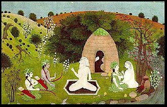 Atri - Rama visiting Atri's hermitage. As Atri talks to Rama and his brother Lakshmana, Anusuya talks with his wife Sita