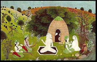 Anasuya - Rama visiting Atri's hermitage. As Atri talks to Rama and his brother Lakshmana, Anusuya talks with his wife Sita