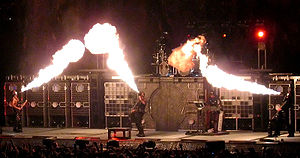 Pyrotechnics - Rammstein uses pyrotechnics numerous times in their shows, such as this performance of Feuer Frei.