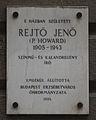 Rejto Jeno emlektablaja szulohaza falan Budapest.jpg