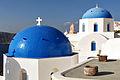 Reknown blue domes of the Church dedicated to St. Spirou in Firostefani, Santorini island (Thira), Greece.jpg