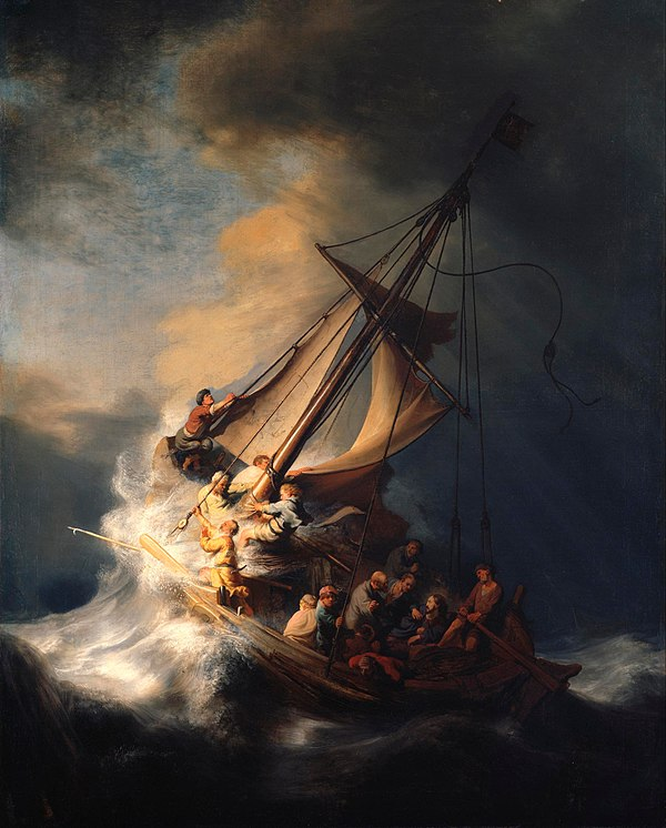 Rembrandt's stolen masterpiece, The Storm on the Sea of Galilee (1633). Rembrandt Christ in the Storm on the Lake of Galilee.jpg