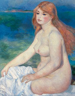 <i>Blonde Bather</i> Two paintings (1881, 1882) by Auguste Renoir